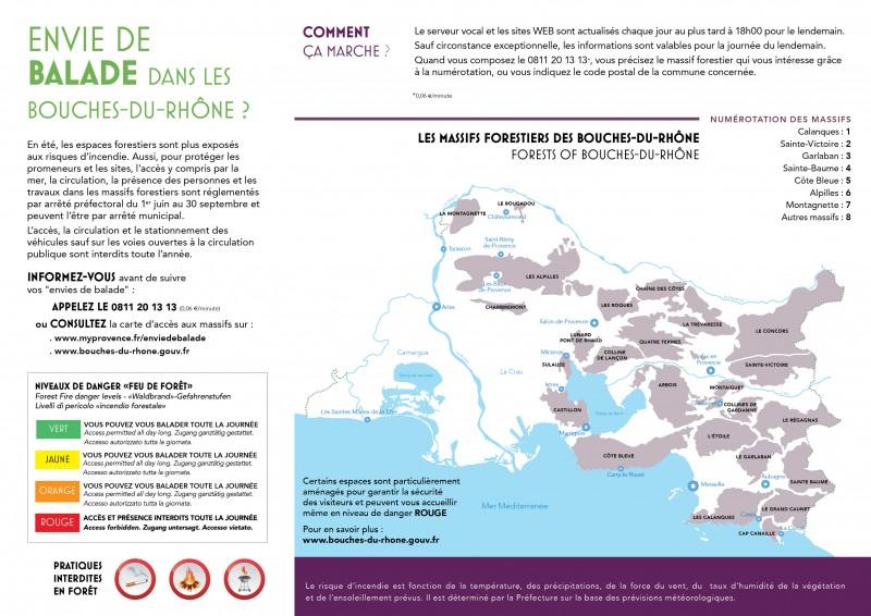 Carte accès aux massifs dans les Bouches-du-Rhône
