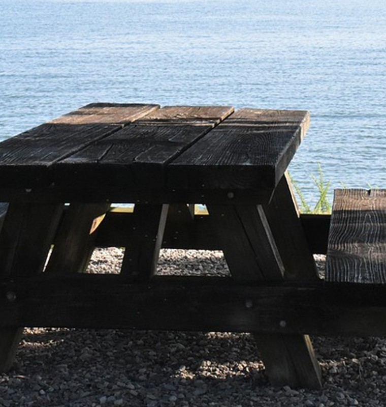 Table at the water's edge